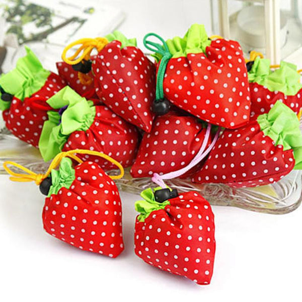 1PCS Random Color Cute Strawberry Shopping Bags Foldable Tote Eco Reusable Storage Handbag Nylon - EnsoStore