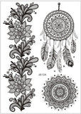 1piece body painting white black henna tattoo fake new lace flash Arabic Indian rose butterfly wedding art paint on hand arm - EnsoStore