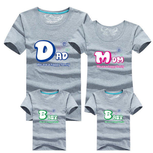 1piece Fashion Family Matching Outfits Tshirt 16 Color Clothes For matching family clothes mother father Baby short Sleeve Shirt-Family Matching Outfits-Enso Store-as chart 3-Mom S-Enso Store