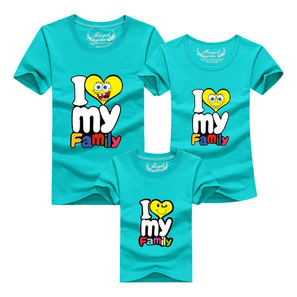 1Piece New Family Matching Outfits T-shirt Color Clothes For  2017 Summer family clothes mother father daughter son Top Clothing - EnsoStore
