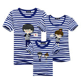 1piece New Fashion Family Matching Outfits T-shirt For mother father Baby Family fitted short-sleeved Navy Stripped Family Shirt - EnsoStore
