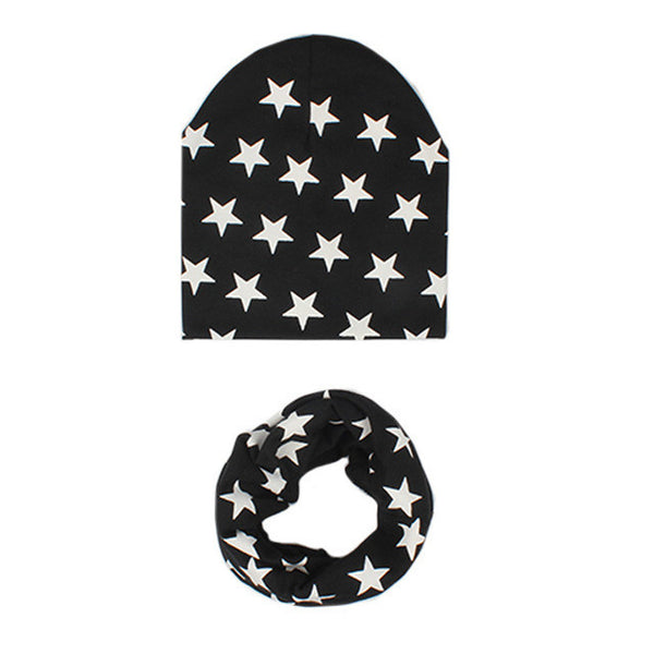 2 Pcs Star Pattern Baby Hat +Scarf Cute Kids Cap Baby Girl Boy Caps Soft Warm Cotton Beanie O Ring Neckerchief Scarves casquette - EnsoStore