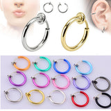 2 Piece Fake Nose Ring Goth Punk  Lip Ear Nose Clip On Fake Piercing Nose Lip Hoop Rings Earrings Golden Rose Gold body jewelry - EnsoStore