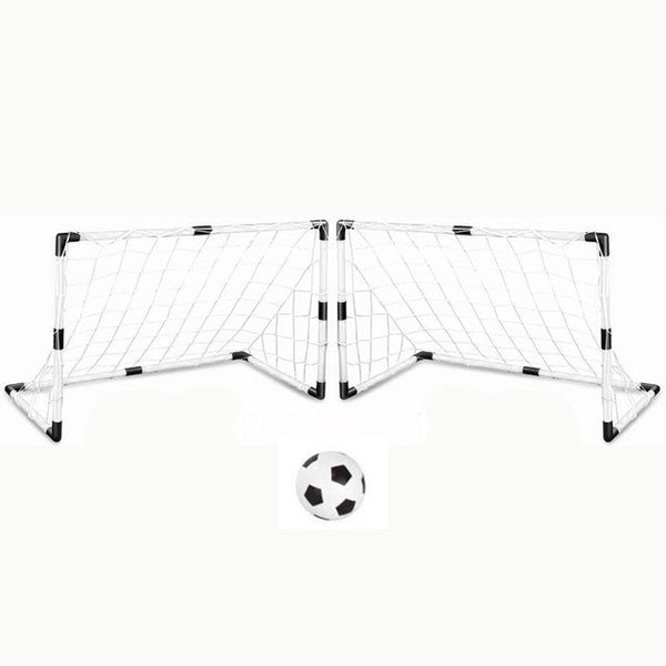 2 Sets DIY Children Sports Soccer Goals with Soccer Ball and Pump Practice Scrimmage Game Football Gate DIY White - EnsoStore