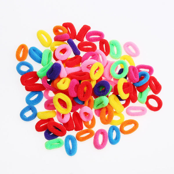 200 Pcs Colorful Child Kids Hair Holders Cute Rubber Hair Band Elastics Accessories Girl Women Charms Tie Gum - EnsoStore