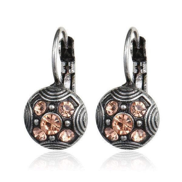 2016 Fashion Ethnic Antique Silver Vintage Carved Pink Rhinestone Brincos Clip On The Earrings For Women Statement Jewelry Gift - EnsoStore