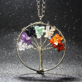 2016 Fashion Quartz Chips Pendant Necklace Rainbow 7 Chakra Tree Of Life Multicolor WisdomTree Natural Stone Necklace - EnsoStore