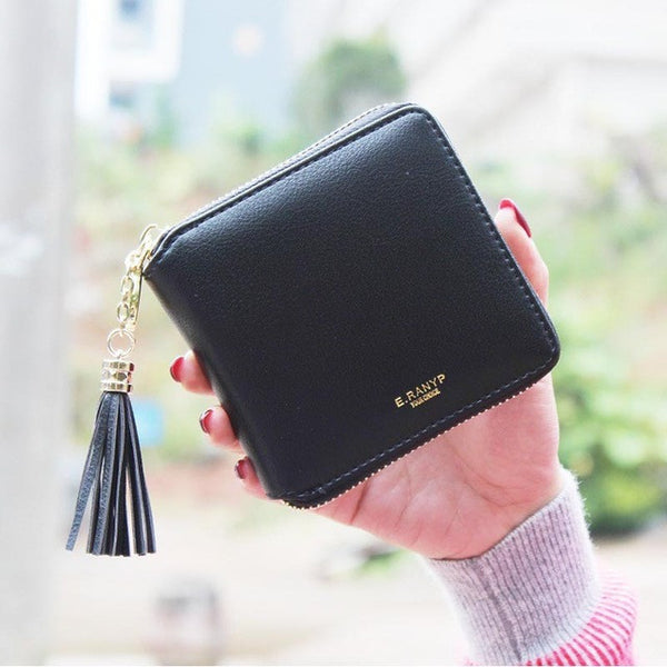 2016 Fashion Women Wallets PU Leather Tassel Female Wallet Ladies Bronzing Clutches New Brand Card Holder Women Purses - EnsoStore