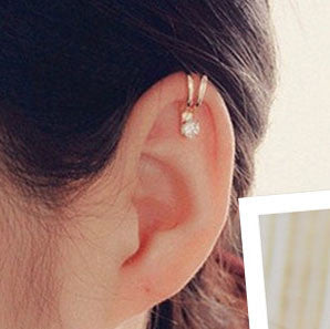 2016 Hot Selling Unisex Summer Style Gold/Silver Plated Cubic Zirconia Tragus Ear Cuff  Clip Earrings For Women Fashion Earing - EnsoStore