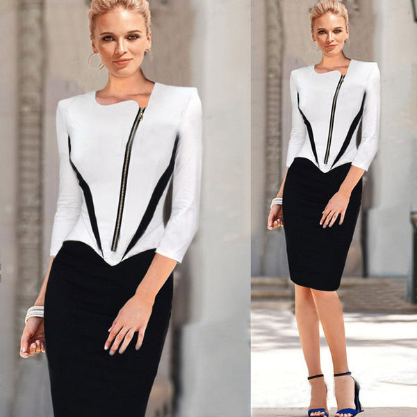 2016 Ladies Elegant Long Sleeve Black and White Dress Pencil Women Formal Dresses Suit for Work Party Tunic Office Bodycon - EnsoStore