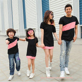 2016 Mother and daughter dress family matching clothes couple clothes inclined shoulder dress boys T-shirt mother father baby - EnsoStore