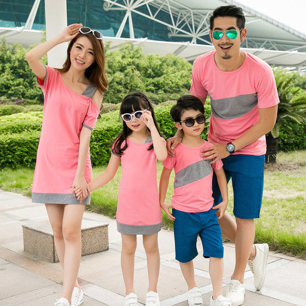 d47cdc6eb6 2016 Mother and daughter dress family matching clothes couple clothes  inclined shoulder dress boys T-shirt mother father baby