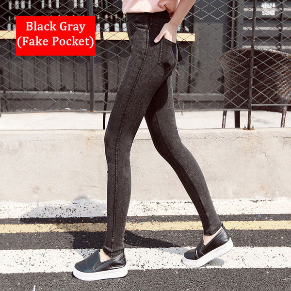 2016 New Fashion Ladies Casual Stretch Denim Jeans Leggings Jeggings Pencil Pants Thin Skinny Leggings Jeans Womens Clothing-Women's Bottoms-Enso Store-Black gray-M-Enso Store