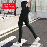 2016 New Fashion Ladies Casual Stretch Denim Jeans Leggings Jeggings Pencil Pants Thin Skinny Leggings Jeans Womens Clothing-Women's Bottoms-Enso Store-Dark green-M-Enso Store