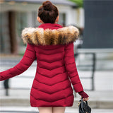 2016 New Fashion Long Winter Jacket Women Slim Female Coat Thicken Parka Down Cotton Clothing Red Clothing Hooded Student-Enso Store-Burgundy-S-Enso Store