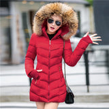 2016 New Fashion Long Winter Jacket Women Slim Female Coat Thicken Parka Down Cotton Clothing Red Clothing Hooded Student-Enso Store-Red-S-Enso Store