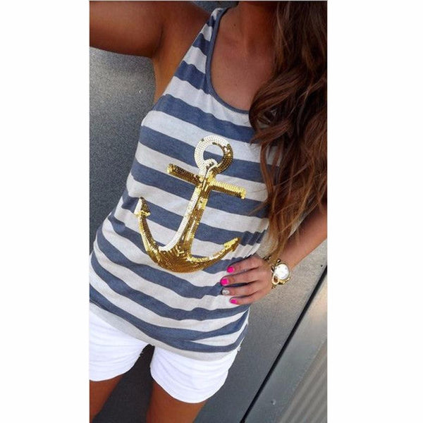 2016 New Fashion Women's Women Stripe Sequin Anchor Sleeveless Vest Tank Shirt Top Blouse Clothes-Women's Blouses-Enso Store-Gold-L-Enso Store
