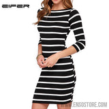 2016 New Spring Summer Women Round Neck Fashion Black and White Striped Long Sleeve Straight Plus Size Casual Dress-Women's Dresses-EnsoStore-Multi-S-Enso Store