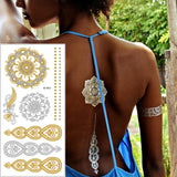 2016 New summer arabic indian designs body painting jewerly metallic gold silver black new henna flash tattoo tatuajes metalicos-Makeup-Enso Store-T024-Enso Store