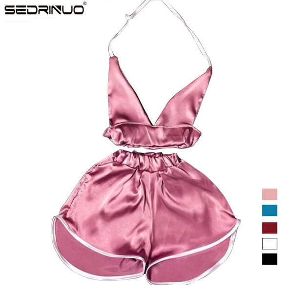 2016 Summer New Brand Women Sexy Deep V Bra Tops and Boxer Pants Sets Women Night Club party Satin Tracksuits Two Pieces Sets-Enso Store-Blue Sets-L-China-Enso Store