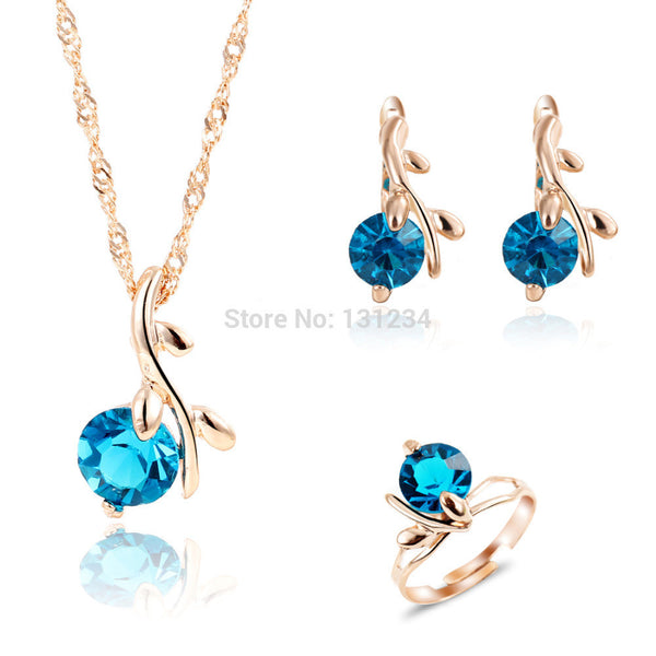 2016 Unique Peacock Blue Gems Water Drop Pendant Necklace Rings Jewelry Sets for Women Rose Gold Color Wedding Jewelry Set - EnsoStore