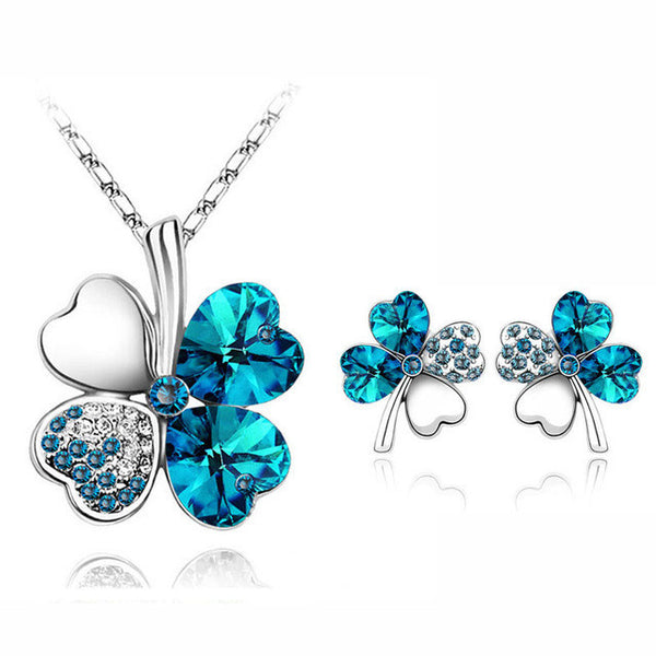 2017 Austrian Crystal rhinestones Clover 4 four Leaf  White Gold Plate green crystsal Necklace Earrings Jewelry Sets 9554 - EnsoStore