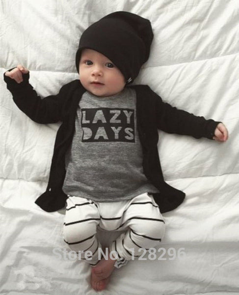 2017 Autumn baby boy clothes baby clothing set fashion cotton long-sleeved Letter T-shirt+pants Newborn baby girl clothing set - EnsoStore