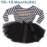 2017 Autumn Baby Clothing Stripe Cute Bow Casual Little Girl Dress For First Birthday Party Toddler Girl Clothes For Baby Child - EnsoStore