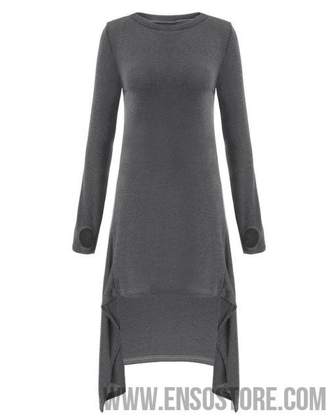 2017 Autumn Women Casual Loose Dress Long Sleeve O neck Knitted Sweater Vestidos Irregular Hem Mid-calf Dresses Plus Size S-3XL-Women's Dresses-EnsoStore-Gray-S-Enso Store