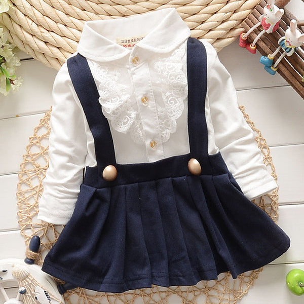2017 Baby Grils Dress Long Sleeve Braces Cotton Cute Mini Above Knee Princess Casual girl dress-Baby Girls Clothing-Enso Store-Blue-9M-Enso Store