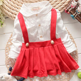 2017 Baby Grils Dress Long Sleeve Braces Cotton Cute Mini Above Knee Princess Casual girl dress-Baby Girls Clothing-Enso Store-Red-9M-Enso Store