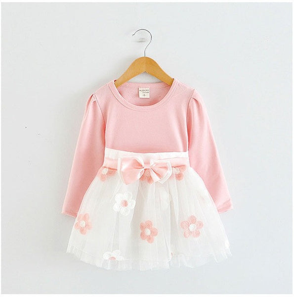 2017 Baby Princess Girls Toddler New Born Flower Dress for Newborn Long Sleeves 1-2 Year Birthday Baby Dresses for Children-Baby Girls Clothing-Enso Store-A0233F-18M-Enso Store