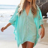 2017 Beach Cotton Cover-Ups V-neck Tunic Sarong Bathing Suit Coverups Bikini Cover Up Women Swimsuit Beachwear 02-0186-Women's Swimwear-Enso Store-Sky Blue-One Size-Enso Store