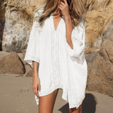 2017 Beach Cotton Cover-Ups V-neck Tunic Sarong Bathing Suit Coverups Bikini Cover Up Women Swimsuit Beachwear 02-0186-Women's Swimwear-Enso Store-White-One Size-Enso Store