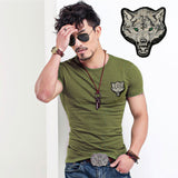 2017 Brand Men's Wolf embroidery Tshirt Cotton Short Sleeve T Shirt Spring Summer Casual Men's O neck Slim T-Shirts Size S-5XL-Men's Tops & Tees-Enso Store-O neck Army-S-Enso Store