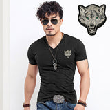 2017 Brand Men's Wolf embroidery Tshirt Cotton Short Sleeve T Shirt Spring Summer Casual Men's O neck Slim T-Shirts Size S-5XL-Men's Tops & Tees-Enso Store-V neck Black-S-Enso Store