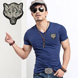 2017 Brand Men's Wolf embroidery Tshirt Cotton Short Sleeve T Shirt Spring Summer Casual Men's O neck Slim T-Shirts Size S-5XL-Men's Tops & Tees-Enso Store-V neck Navy-S-Enso Store