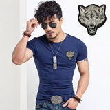 2017 Brand Men's Wolf embroidery Tshirt Cotton Short Sleeve T Shirt Spring Summer Casual Men's O neck Slim T-Shirts Size S-5XL-Men's Tops & Tees-Enso Store-V neck White-S-Enso Store