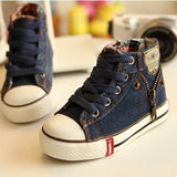 2017 Canvas Children Shoes Sport Breathable Boys Sneakers Brand Kids Shoes for Girls Jeans Denim Casual Child Flat Boots 25-37-Children's Shoe-Enso Store-Dark blue-8.5-Enso Store