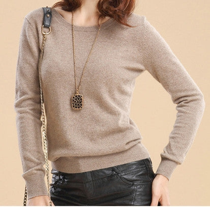 2017 Cashmere wool Sweater Women Sweaters and Pullovers Women Fashion o-neck sweater solid Color Long sleeve Knitted Sweater-Enso Store-khaki-S-Enso Store