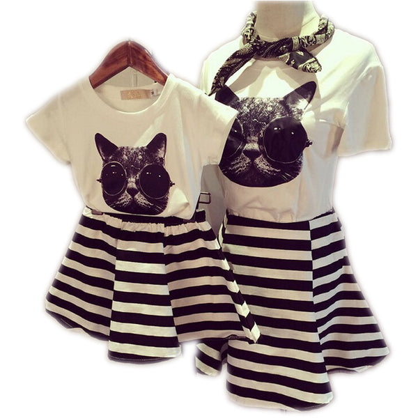 9b2db4900ab 2017 Family Clothes Sets Matching Mother And Daughter Set Cotton  Short-Sleeve T-Shirts Fashion Striped Mother Daughter Dresses
