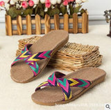 2017 Fashion Flax Home Slippers Indoor Floor Shoes Cross Belt Silent Sweat Slippers For Summer Women Sandals - EnsoStore