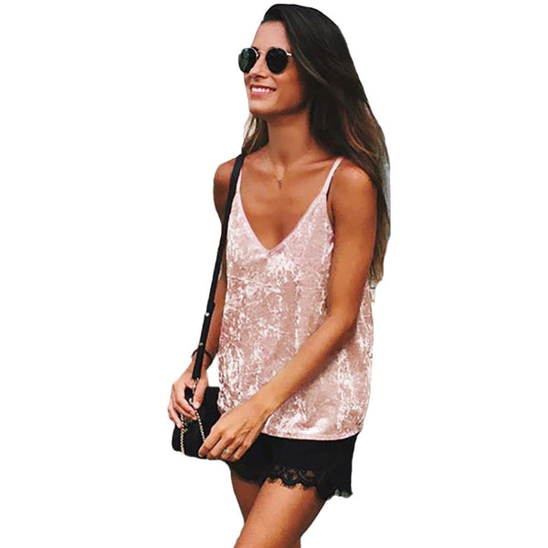23418ea58794ab 2017 Fashion Sexy Women Cami Top Velvet Spaghetti Strap Tops Plunging V-Neck  Solid Sleeveless Casual Vest Pink/Coffee Camiseta