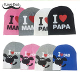 2017 fashion spring baby hats knitted warm cotton toddler beanie baby girl boy I LOVE PAPA MAMA print kids  Cap on boy 1~3years - EnsoStore