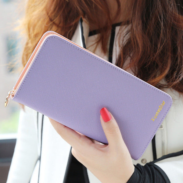 2017 Hot Fashion 7 Colors PU Leather Long Wallets Women Brand Solid Clutch Portable Casual Lady Cash Purse Card Holder Gift-Women's Wallets-Enso Store-Purple-Enso Store