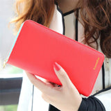 2017 Hot Fashion 7 Colors PU Leather Long Wallets Women Brand Solid Clutch Portable Casual Lady Cash Purse Card Holder Gift-Women's Wallets-Enso Store-Watermelon Red-Enso Store
