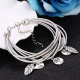 2017 Hot Fashion Silver Filled Charm Leaves Tibetant Silver Multilayer Bracelets For Women Pulseiras Pendant Bracelets & Bangles-Bracelets & Bangles-Enso Store-SL747A-Enso Store