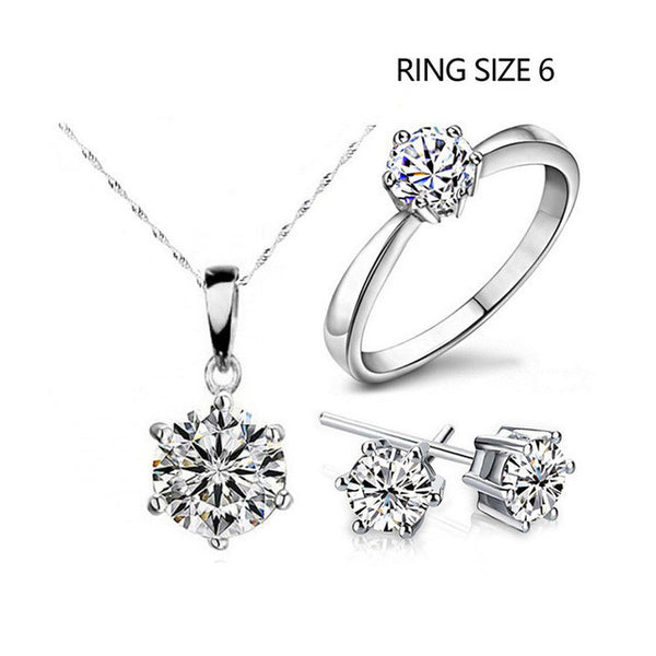 2017 Hot Sale Silver Fashion Jewelry Sets Cubic Zircon Statement Necklace & Earrings & Rings Wedding Jewelry for Women Gift-Jewelry Sets & More-Enso Store-1-Enso Store