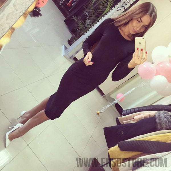 2017 Long Sleeve Knee Length Midi Dress Slim Bodycon Bandage Autumn Black Wine Red Women Dresses Bandage Vestidos Q0001-Women's Dresses-EnsoStore-Black-S-Enso Store