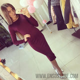 2017 Long Sleeve Knee Length Midi Dress Slim Bodycon Bandage Autumn Black Wine Red Women Dresses Bandage Vestidos Q0001-Women's Dresses-EnsoStore-Wine Red-S-Enso Store